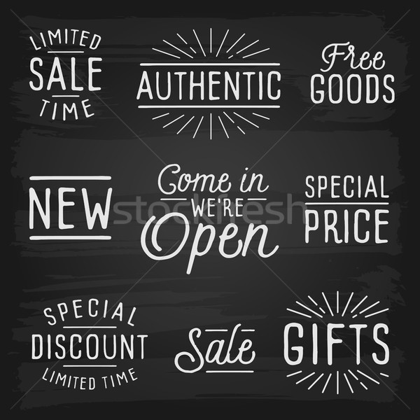 Hand drawn lettering slogans for retail Stock photo © ildogesto