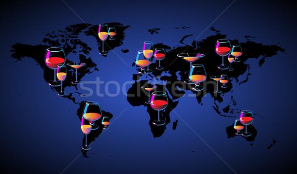 World map with wines Stock photo © ildogesto