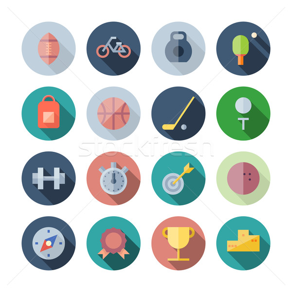 Flat Design Icons For Sport and Fitness Stock photo © ildogesto
