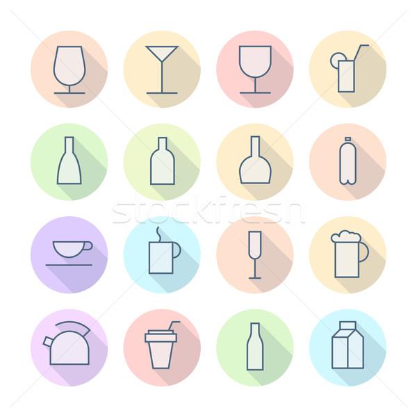 Foto stock: Fino · linha · ícones · bebidas · vetor · eps10