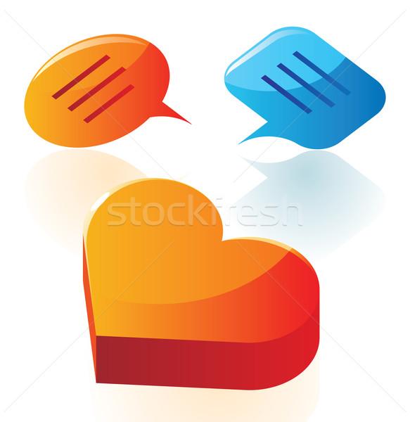 любви разговор иконки оранжевый говорить Cartoon Сток-фото © ildogesto