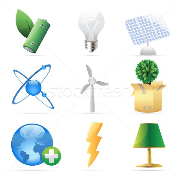 Simgeler doğa enerji ekoloji ağaç dünya Stok fotoğraf © ildogesto