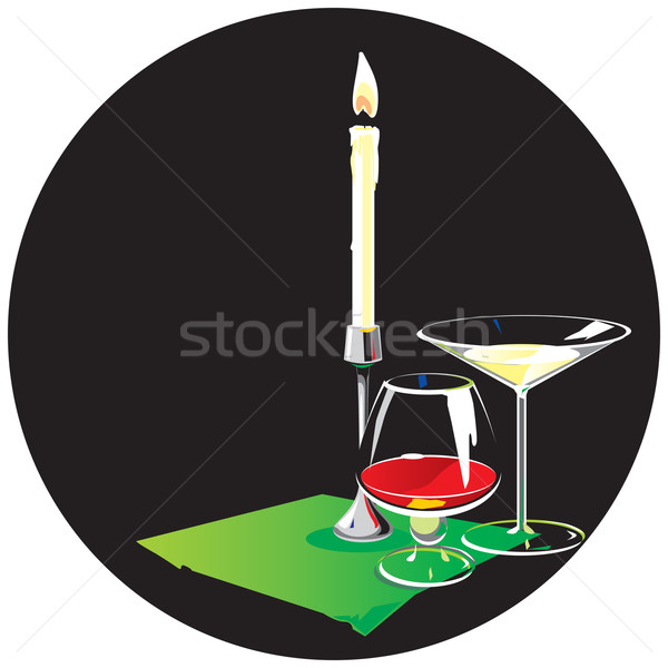 Two glasses and candle Stock photo © ildogesto