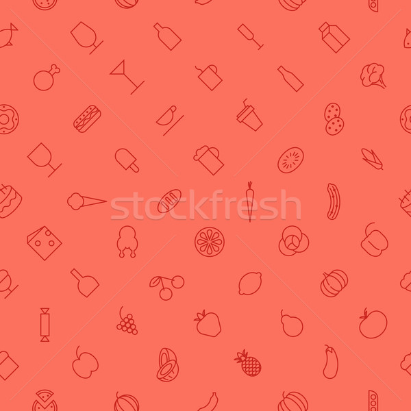Seamless background pattern for food and drinks Stock photo © ildogesto