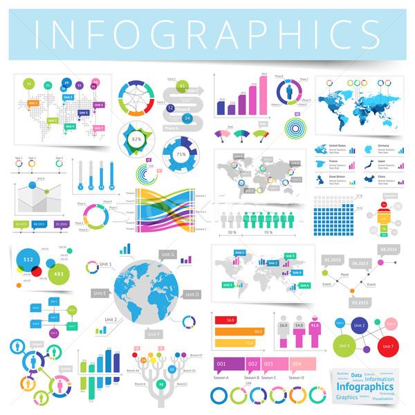 セット インフォグラフィック デザイン 要素 データ アイコン ストックフォト © ildogesto