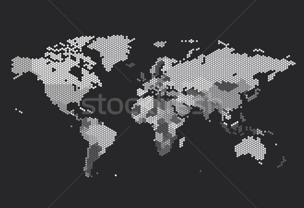 Dotted World map of hexagonal dots Stock photo © ildogesto
