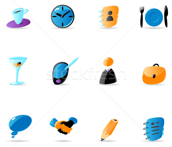 Stock photo: Bright business contacts and meeting icons