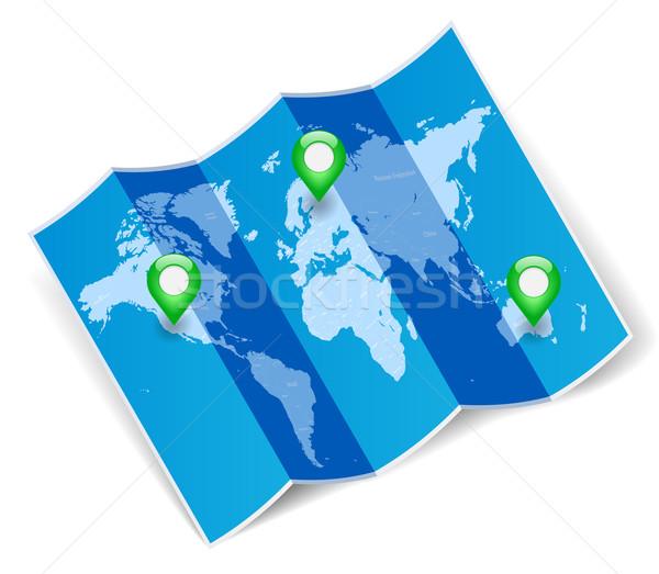 Világtérkép GPS kék összehajtva térkép terv Stock fotó © ildogesto