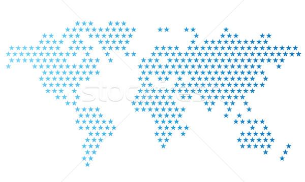 Dotted world map made of star shapes Stock photo © ildogesto