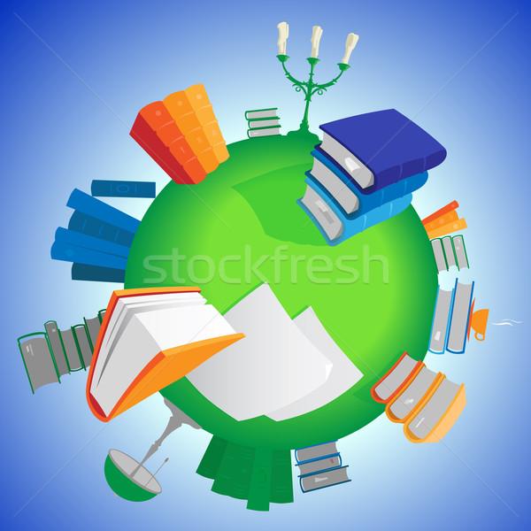 Wereld kennis veelkleurig boeken groene planeet Stockfoto © ildogesto