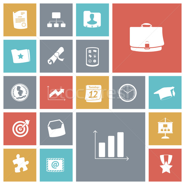 Flat design icons for business and finance. Stock photo © ildogesto
