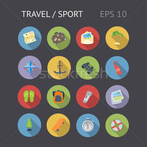 Iconen reizen sport vector eps10 objecten Stockfoto © ildogesto
