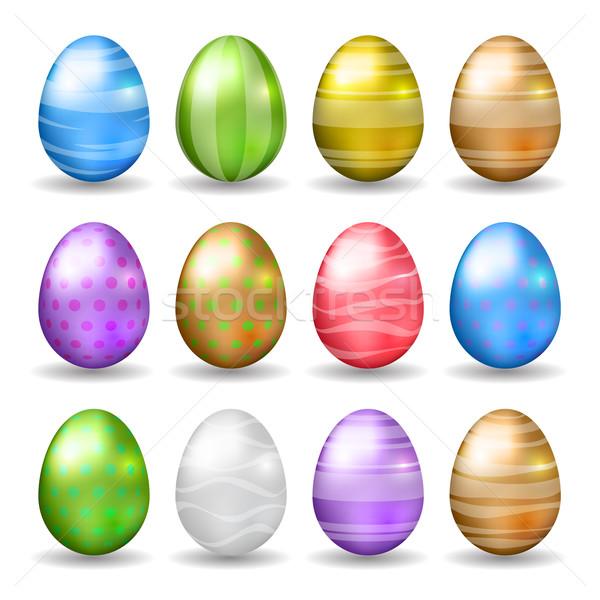 Conjunto ovos de páscoa decorado cores vetor Foto stock © ildogesto