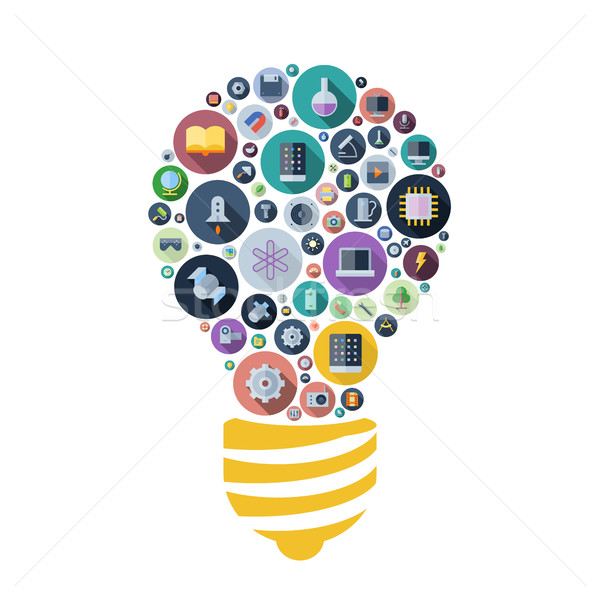 Icons for technology and science arranged in light bulb shape Stock photo © ildogesto