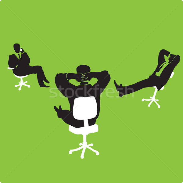 Stock fotó: üzletemberek · székek · három · zöld · absztrakt · csoport