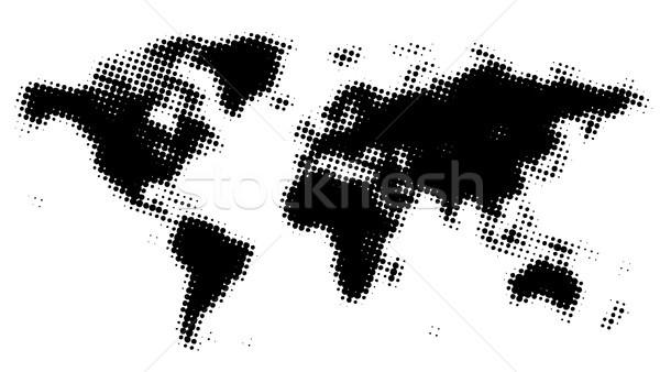 Pontilhado mapa do mundo mundo preto padrão europa Foto stock © ildogesto