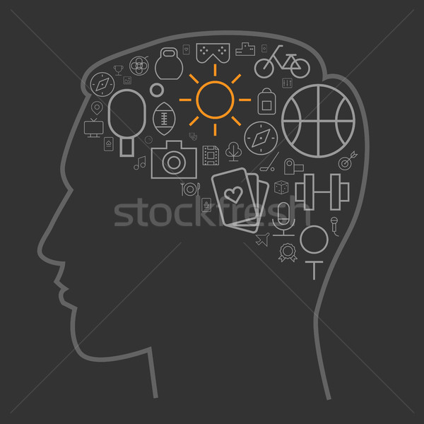 Icons for sport and leisure in human brain shape Stock photo © ildogesto