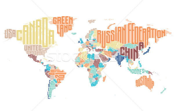 World map made of typographic country names Stock photo © ildogesto