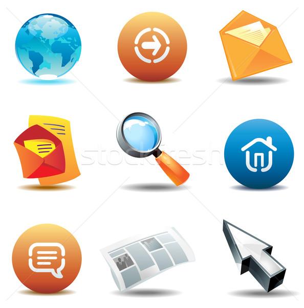 иконки интернет Интернет иконы бумаги газета Мир Сток-фото © ildogesto