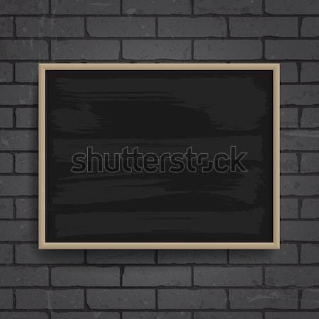 Zwarte schoolbord houten frame muur vector eps10 Stockfoto © ildogesto