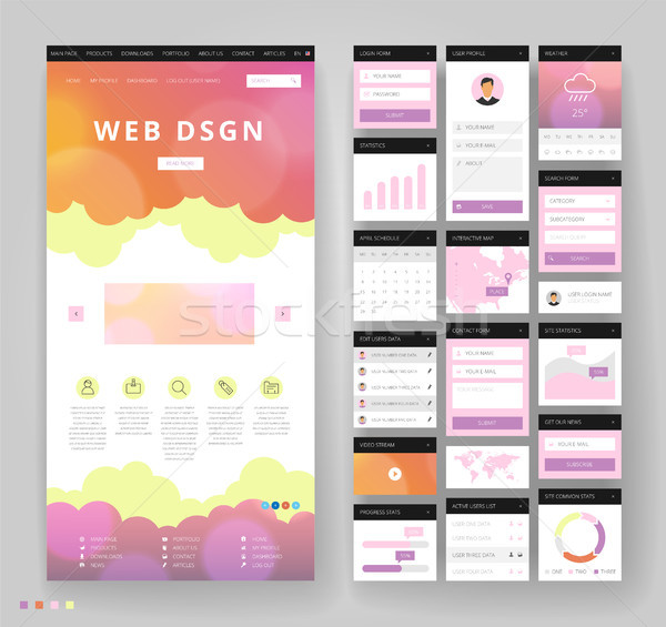 Website template design with interface elements Stock photo © ildogesto
