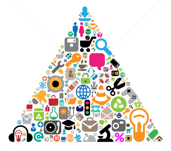 Set of icons in triangle shape Stock photo © ildogesto