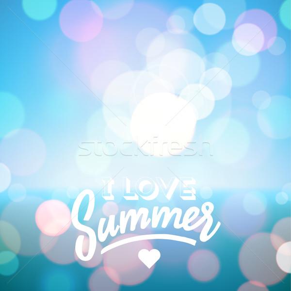 Férias de verão praia tropical amor verão cartaz vetor Foto stock © ildogesto