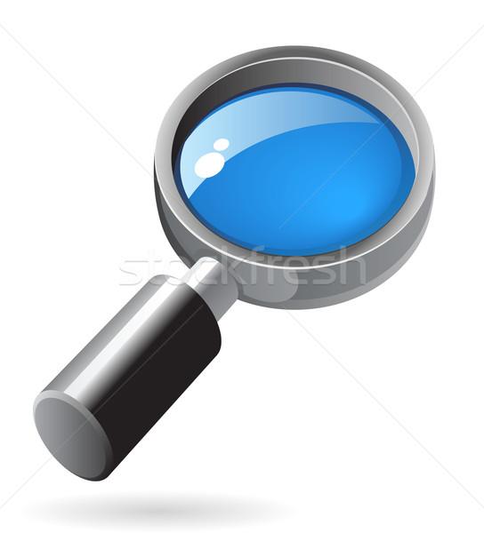 Izometryczny ikona obiektyw lupą czarny wyszukiwania Zdjęcia stock © ildogesto