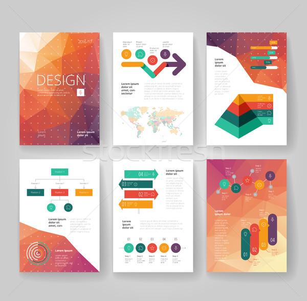 ビジネス パンフレット テンプレート インフォグラフィック デザインテンプレート にログイン ストックフォト © ildogesto