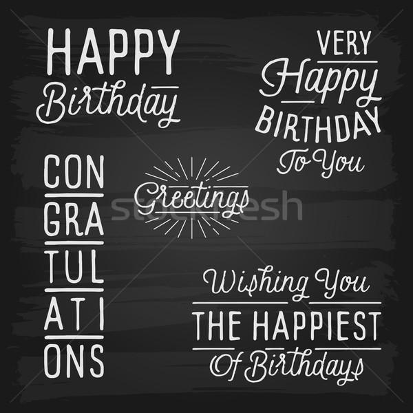 Dessinés à la main anniversaire fête école heureux design Photo stock © ildogesto