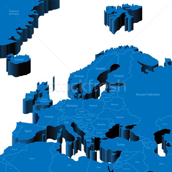 3D harita avrupa bölge ülke Stok fotoğraf © ildogesto