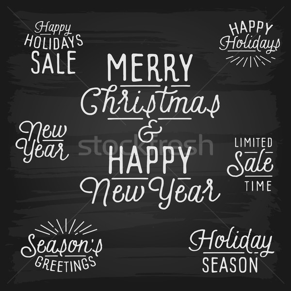 Hand drawn lettering slogans for Christmas and New Year Stock photo © ildogesto