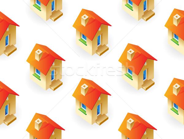 Házak fehér ház háttér piros szín Stock fotó © ildogesto