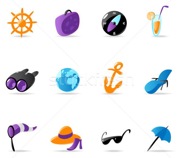 Brillante viaje Resort iconos playa mundo Foto stock © ildogesto