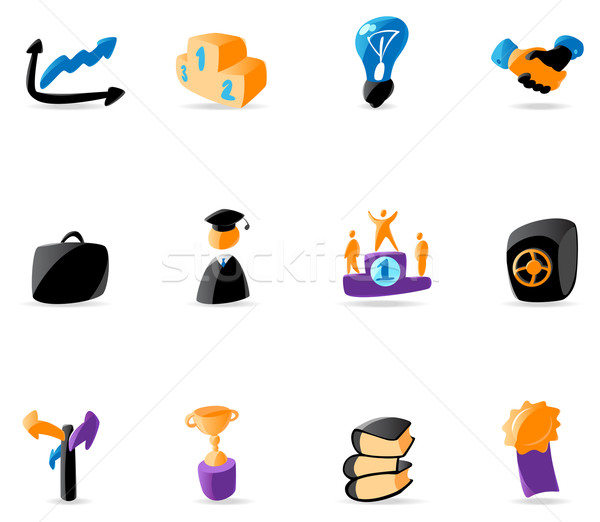 Fényes üzlet pénzügy ikonok könyvek törvény Stock fotó © ildogesto