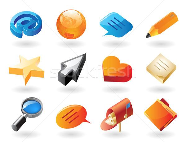 Ikona rozmowy wysoki szczegółowy realistyczny stronie Zdjęcia stock © ildogesto