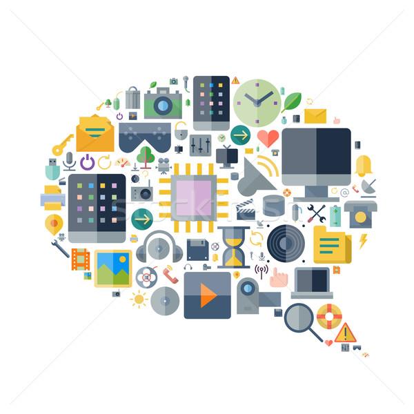 Icons for technology arranged in speech bubble shape Stock photo © ildogesto