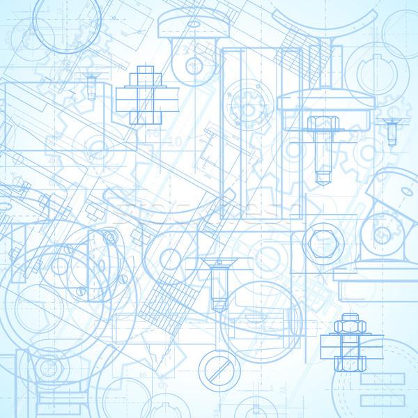 Ipari absztrakt építkezés kék gép acél Stock fotó © ildogesto