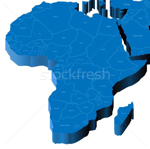 3D kaart afrika land wereld Stockfoto © ildogesto