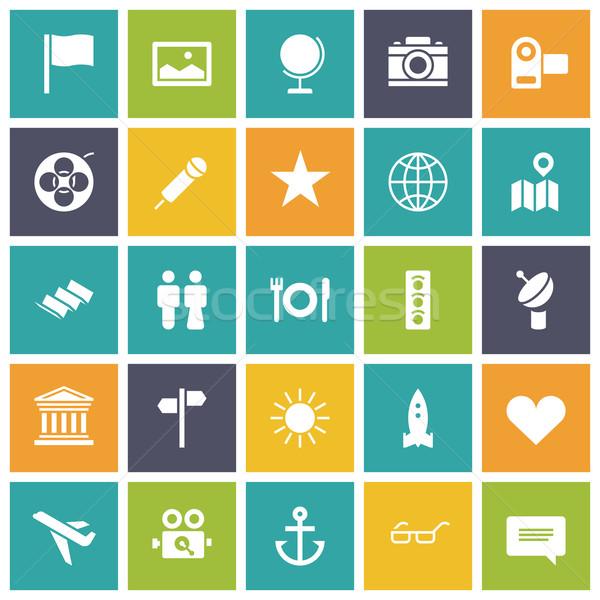 Terv ikonok utazás szabadidő épület szív Stock fotó © ildogesto
