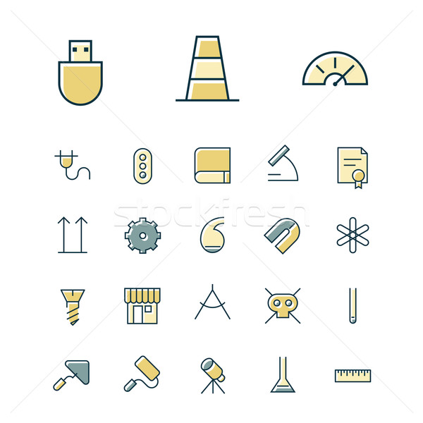 Thin line icons for science and industrial Stock photo © ildogesto