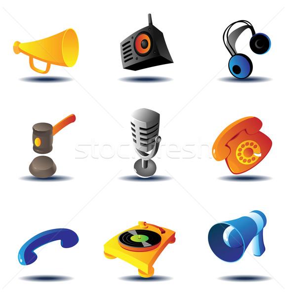 ícones soar dispositivos dispositivo microfone teia Foto stock © ildogesto