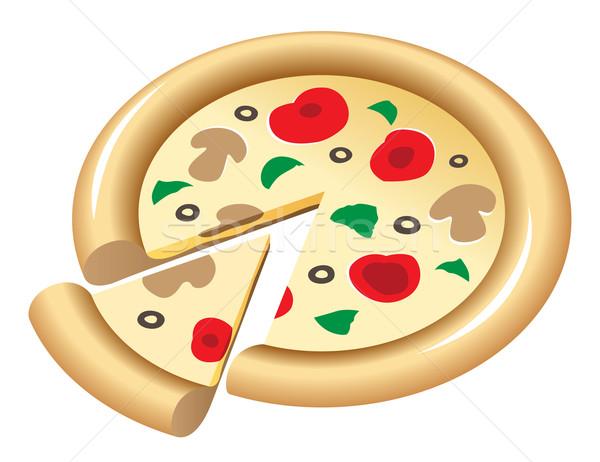 Pizza gombák paradicsomok pázsit terv sajt Stock fotó © ildogesto