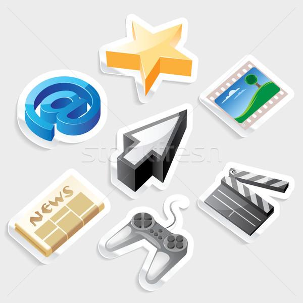 Sticker icon set for interface Stock photo © ildogesto