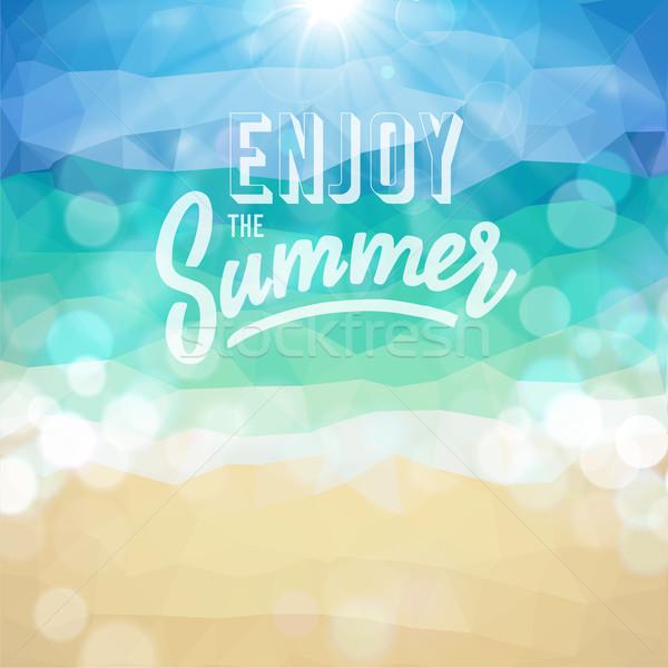Foto stock: Férias · de · verão · praia · tropical · desfrutar · verão · cartaz · vetor