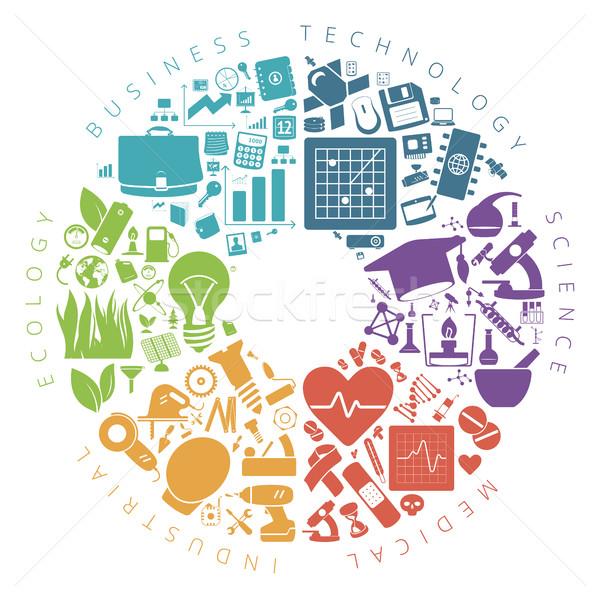 Foto stock: Negócio · tecnologia · ciência · ícones · infográficos