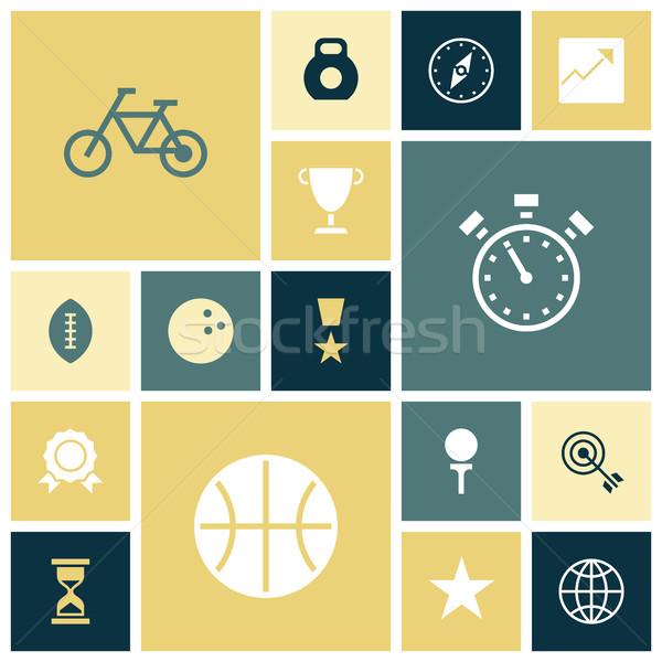 Flat design icons for sport and fitness Stock photo © ildogesto