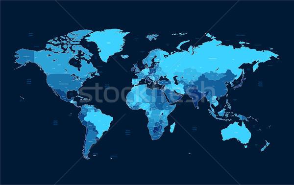 Dark blue detailed World map Stock photo © ildogesto