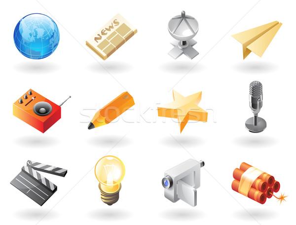 Isometric-style icons for mass media Stock photo © ildogesto