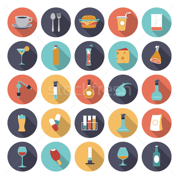 Flat design icons for food and drinks industry Stock photo © ildogesto